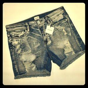 Sneak Peak distressed jean shorts